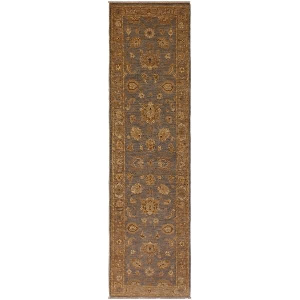 Kafkaz Peshawar Eufemia Gray/Lt. Brown Wool Rug (2'8 x 10'10) - 2 ft. 8 in. x 10 ft. 10 in.