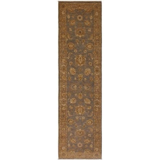 Kafkaz Peshawar Eufemia Gray/Lt. Brown Wool Rug (2'8 x 10'10) - 2 ft. 8 in. x 10 ft. 10 in.