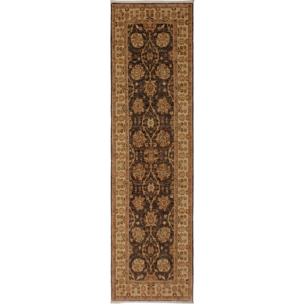 Kafkaz Peshawar Edyth Gray/Ivory Wool Rug (3'1 x 9'3) - 3 ft. 1 in. x 9 ft. 3 in.