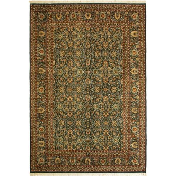 Pak-Persian Tobie Teal/Teal Wool Rug (10'0 x 13'10) - 10 ft. 0 in. x 13 ft. 10 in.