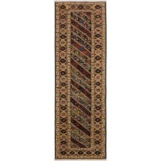 Kafkaz Peshawar Eric Blue/Ivory Wool Rug (2'9 x 9'8) - 2 ft. 9 in. x 9 ft. 8 in.