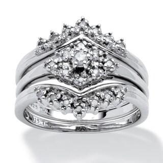 Platinum over Sterling Silver Diamond 3 Pc Bridal Ring Set (1/4 cttw) - White