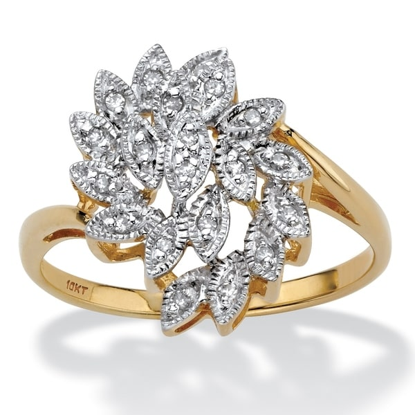 19ee2cd13c924b Shop 10K Yellow Gold Round Genuine Diamond Leaf Cluster Ring (1/10 cttw) -  White - Free Shipping Today - Overstock - 25673115