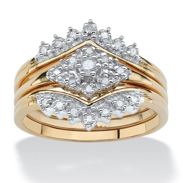 Gold over Sterling Silver Diamond 3 Piece Bridal Ring Set (1/4 cttw) - White. Opens flyout.