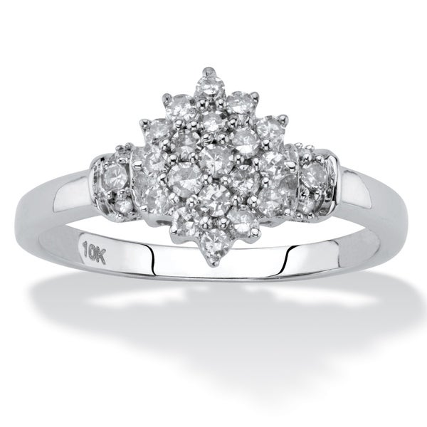 01f28849911a9c Shop 10K White Gold Round Genuine Diamond Cluster Ring (1/3 cttw) - On Sale  - Free Shipping Today - Overstock - 25673118