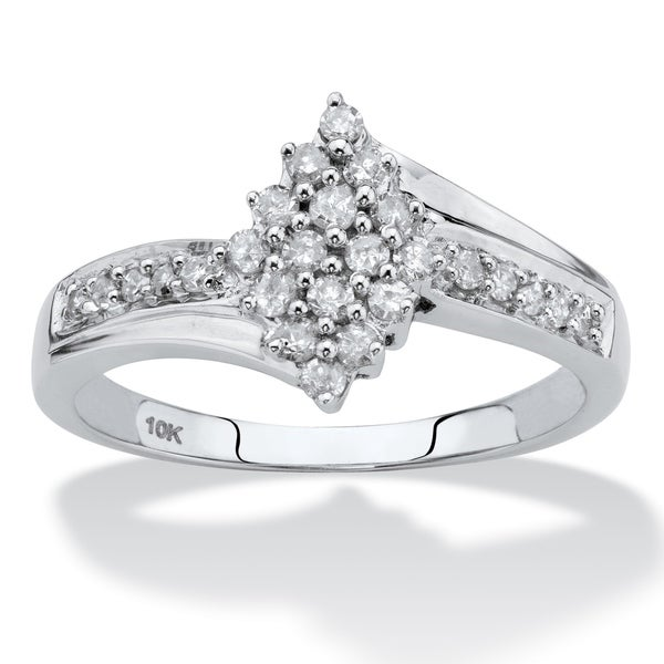 093fb1d95 Shop 10K White Gold Round Genuine Diamond Ring (1/3 cttw) - On Sale - Free  Shipping Today - Overstock - 25673119