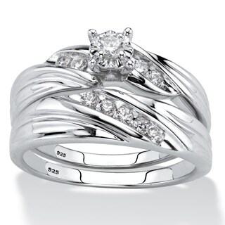 Platinum over Sterling Silver Bridal Ring Set Cubic Zirconia - White
