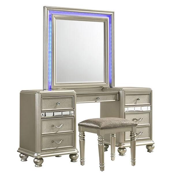 Kaleidoscope Platinum Finish Center Drawer Mirror And Vanity Desk