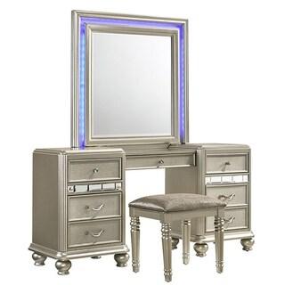 Kaleidoscope Platinum finish Vanity/Mirror Desk With Center Drawer