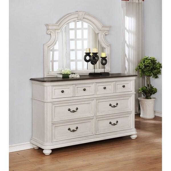 Greyson Living Laguna Antique White Panel Bed 6piece: Shop West Chester Traditional Dresser/Mirror