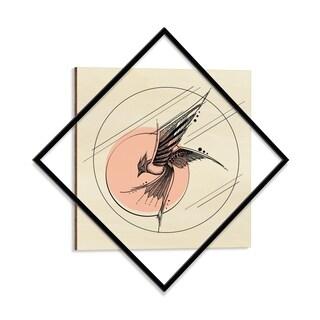 Wooden Printed Swooping Bird Modern Wall Art - 28 x 28