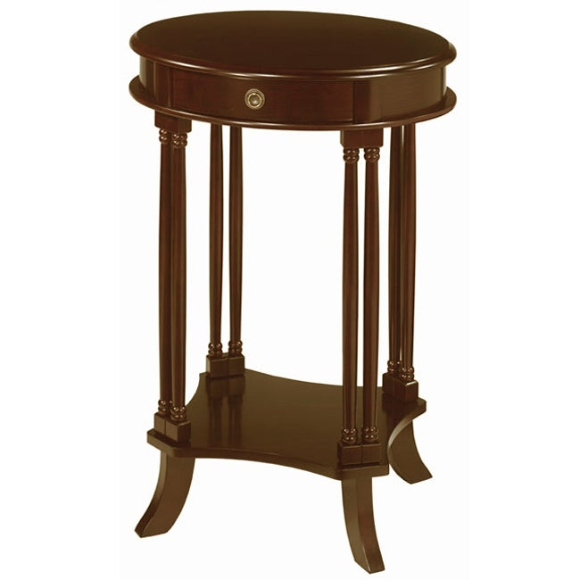 Oval Wooden Coffee Table With Shelf: Shop Mahogany Finish Oval Side Table