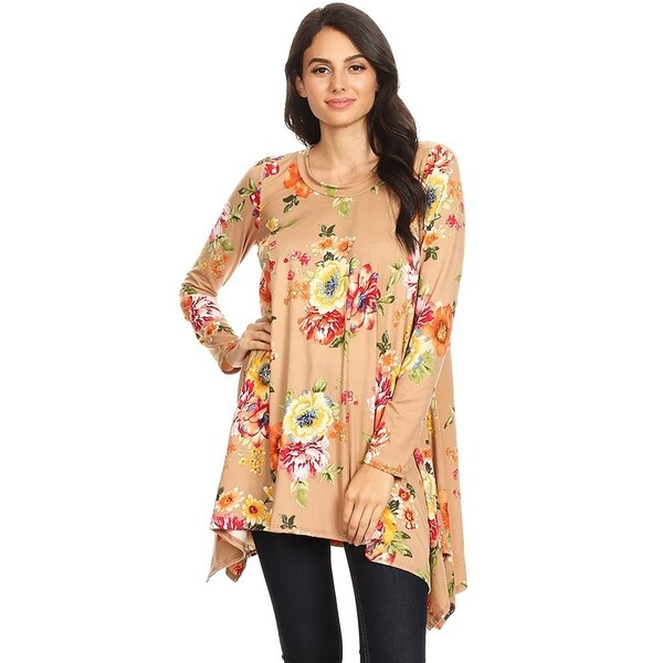 Women's Loose Fit Round Neck Solid Tunic Top
