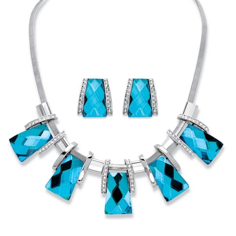 Silver Tone Bib Necklace and Earring Set, Blue Glass and Crystal - White