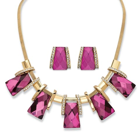 Gold Tone Pink Crystal Vintage-Inspired 2-Piece Earrings Necklace Set - White