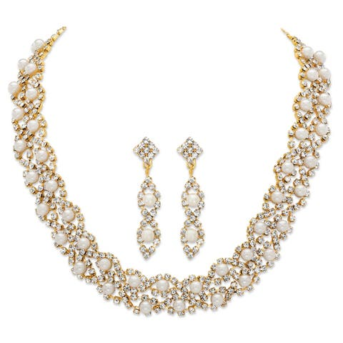 Gold Tone Simulated Pearl and Crystal Earrings and Necklace Set - White