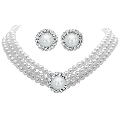 "Silver Tone Choker Necklace and Earring Set, Simulated Pearl, 13"" - White"