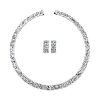 """Silver Tone Collar Necklace and Earring Set, Princess Cut Crystal, 13"""" - White"""