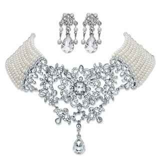 """Silver Tone Bib Necklace Pearl and Crystal, 16.5"""" plus 4"""" extension - White"""