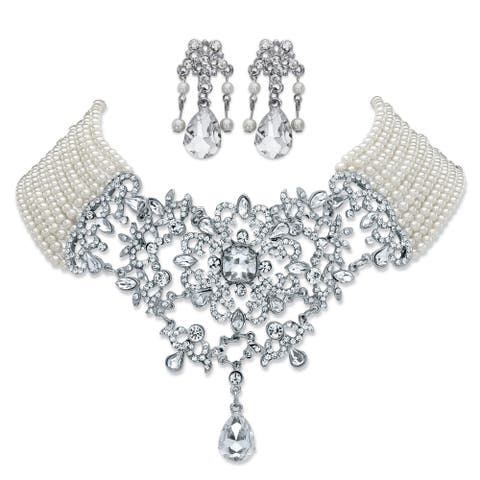 "Silver Tone Bib Necklace Pearl and Crystal, 16.5"" plus 4"" extension - White"