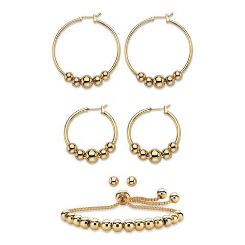 Gold Tone 4-Piece Beaded Earrings and Adjustable Slider Bracelet Set