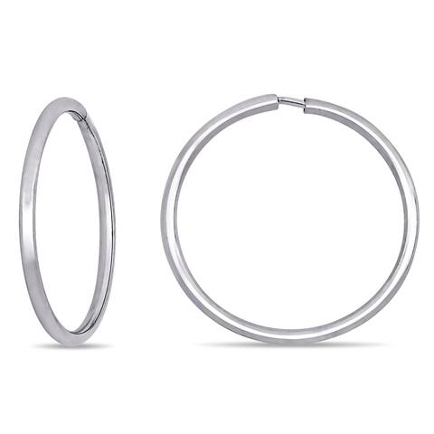 Miadora 18k White Gold Round Thin Hoop Earrings (16 mm)