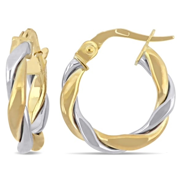 b59aa07bddf59 Miadora 2-Tone 18k White and Yellow Gold Twisted Hoop Earrings