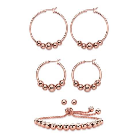 Rose Tone 4-Piece Beaded Earrings and Adjustable Slider Bracelet Set