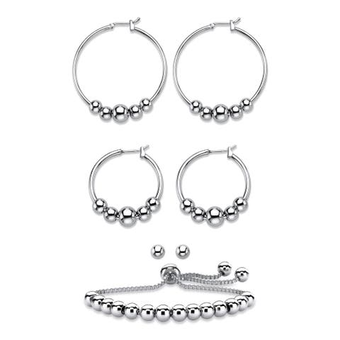 Silvertone 4-Piece Beaded Earrings and Adjustable Slider Bracelet Set