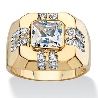 Men's Yellow Gold-Plated Ring Cubic Zirconia (2 1/8 cttw TDW)