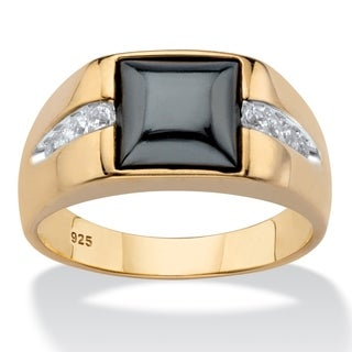 Men's Gold over Sterling Silver Hematite and White Sapphire Ring