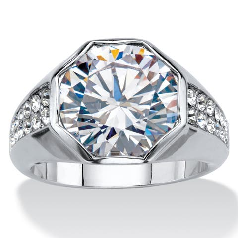 Men's Platinum-Plated Cubic Zirconia and Round Crystal Ring