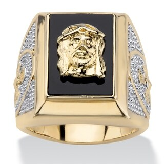 Men's Yellow Gold-Plated Jesus and Cross Onyx Ring
