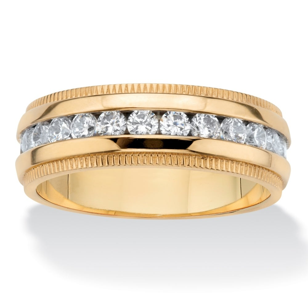 Stainless Steel Gold Color Plated Sandblasted Channel-Set Eternity Comfort Fit Wedding Band Ring with Clear CZ
