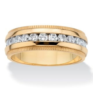 Men's Gold Ion-Plated Stainless Steel Cubic Zirconia Wedding Band