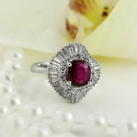 Auriya Platinum Vintage Cushion-cut Halo Ruby and Diamond Ring 1 5/8ct TGW 1 3/4ct TDW