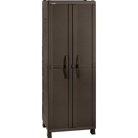 Rimax Brown Resin Rattan Wardrobe Cabinet
