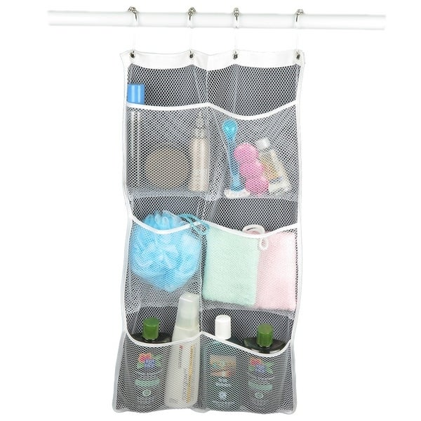 Mesh Shower Caddy Curtains Storage Bag Hanging Mesh Organizer Free shipping