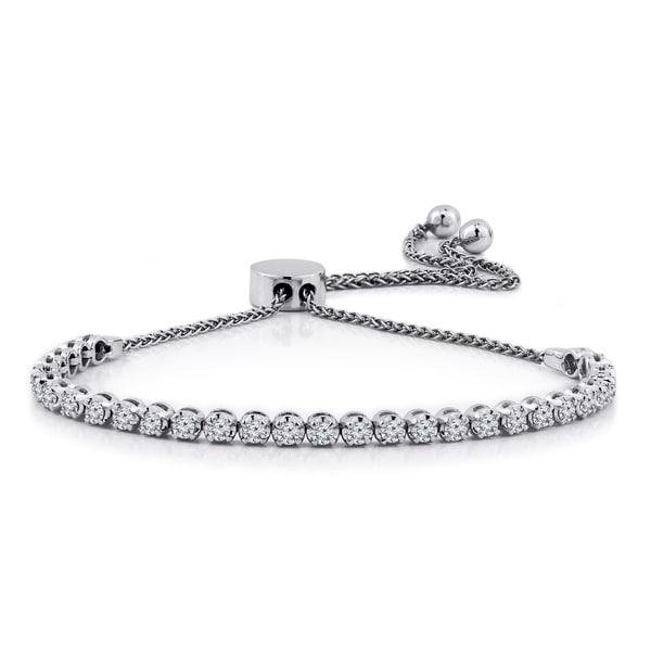 93589ecf59e Shop Auriya 1ctw Adjustable Diamond Bolo Bracelet 14k Gold - On Sale ...