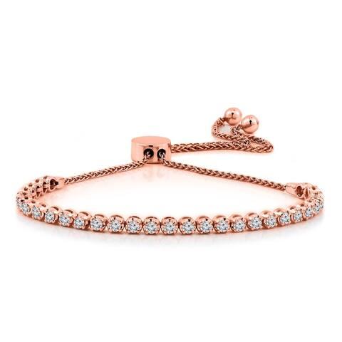 Auriya 1 carat TW Diamond Bolo Bracelet Adjustable 14k Gold