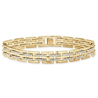"Men's Yellow Gold-Plated Link Bracelet (11mm), Diamond Accent 9"" - White"