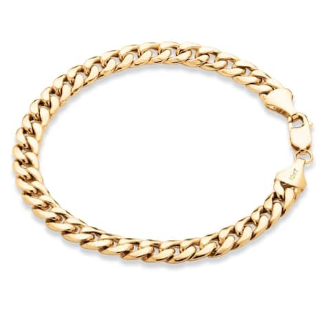 Men's 10K Yellow Gold Curb-Link Bracelet (7mm), 8.5""