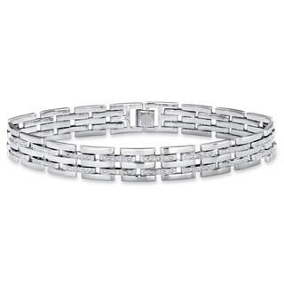 "Men's Silver Tone Link Bracelet (11.5mm), Genuine Diamond Accent 9"" - White"