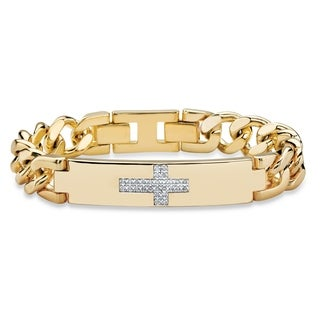 Men's Gold-Plated Round Genuine Diamond Cross Curb-Link Bracelet - White
