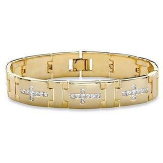 "Men's Gold-Plated Cross Link Bracelet (14mm), Cubic Zirconia, 8"" - White"