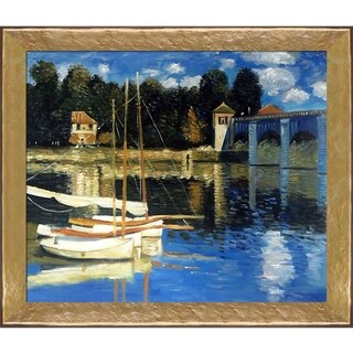 Claude Monet 'The Road Bridge at Argenteuil' Hand Painted Oil Reproduction