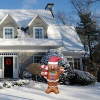 ALEKO Christmas Inflatable LED Waving Gingerbread Man with Blower 5 Foot - 5 foot
