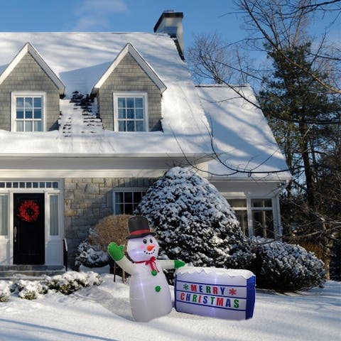 ALEKO Christmas Inflatable LED Waving Snowman for Yard 6 Foot - 6 foot
