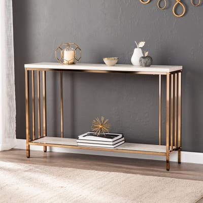 Silver Orchid Ham Faux Stone Console Table