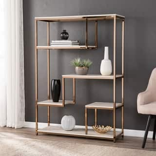Silver Orchid O'Neill Faux Stone Etagere